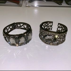Set of 2 hematite statement cuff bracelets jewelry